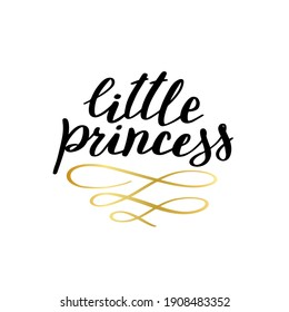 Little princess print in simple doodle style. Hand drawn lettering for t-shirt prints, phone cases, decor or posters. Kids text for girls clothes.