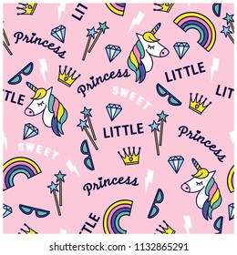 Little princess seamless pattern. Cute icons. Repeat pattern for kids. Unicorn, rainbow, diamond, sunglasses drawing.