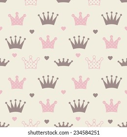 Little princess seamless pattern. Pink, brown, cream colors. Illustration of crowns and little hearts.