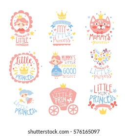 Little Princess Set Of Prints For Infant Girls Room Or Clothing Design logo Templates In Pink And Blue Color. Vector Labels With Quotes Series Of Childish Posters For Toddler.