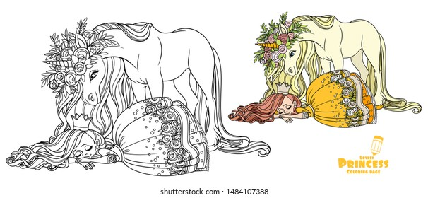 Little princess sleeping and a magical unicorn in large wreath of roses is looking at her color and outlined picture for coloring book on white background