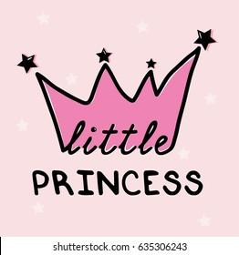 little princess slogan illustration vector for print