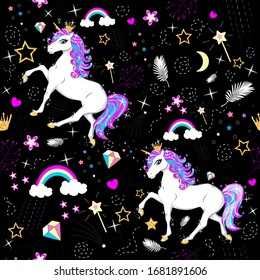 Little Princess unicorn.Beautiful multi-colored pattern.illustration with unicorn, crown, rainbow and cute princess elements.