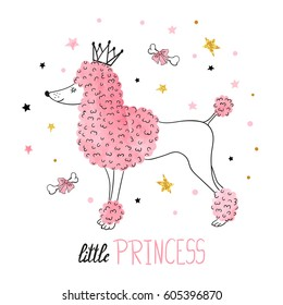 Little princess vector illustration for kids design. Cute watercolor poodle.