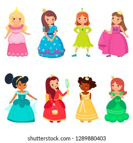 Little princesses in colorful beautiful dresses and gold crowns. Cute  smiling queens. Set of 2fb3655a5db2