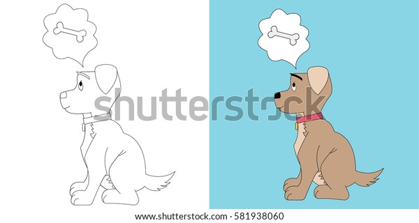 Little puppy coloring thinking about bone. Cartoon character.