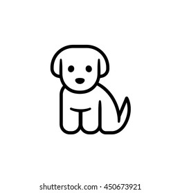 Little puppy icon. Simple cute cartoon dog vector illustration. Vet or pet shop logo.