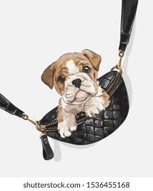 little puppy in shoulder bag illustration