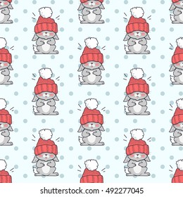 Little rabbit in big red hat seamless pattern. Endless texture with funny bunny wearing red hat. Wallpaper design with cartoon character. Small hare in flat style design. Vector illustration
