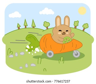 Little rabbit speeding in carrot car through garden landscape (kawaii style cartoon)