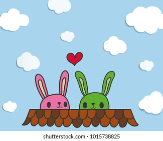Little rabit couple lover on the brown roof sunshine day. happy valentine day.Decoration greeting card/ website/ banner.