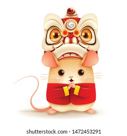 The Little Rat with Chinese New Year Lion Dance Head. Chinese New Year. Year of the rat.
