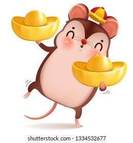 Little rat with holding chinese gold , Ingot. zodiac mice of Animal lucks year 2020 of the rat. Chinese New Year.  Cartoon vector illustration isolated on a white background.