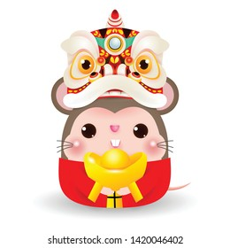 Little rat with Lion Dance Head holding Chinese gold, Happy Chinese new year 2020 year of the rat zodiac, Cartoon vector illustration isolated on white background.