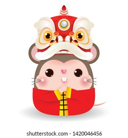 Little rat with Lion Dance Head, Happy Chinese new year 2020 year of the rat zodiac, Cartoon vector illustration isolated on white background.