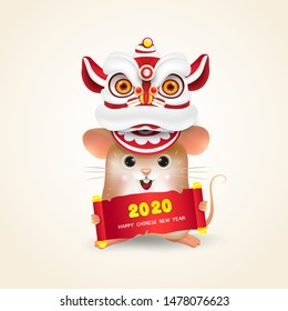 Little Rat or Mouse performs Chinese New Year Lion Dance with 2020 Happy Chinese New Year scroll. Isolated.