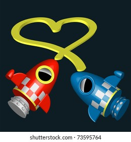 Little red and blue rocket ships flying in universe with love heart joining them illustration vector