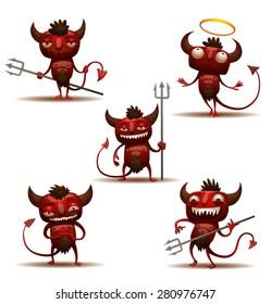 Little Red Devils set, vector
