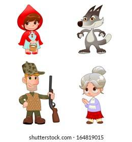 Little Red Hiding Hood's characters. Funny cartoon and vector isolated items.