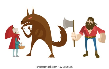 little red riding hood with big bad wolf and lumberjack hunter