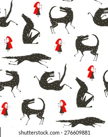 Little Red Riding Hood and Black Wolf Fairy tale Seamless Pattern. Little girl loves bad horrible wolf, black and white. Seamless background. Vector illustration.