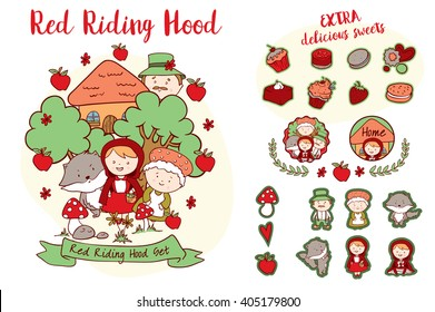 Little Red Riding Hood - Characters and decorative elements of a famous story, including Riding Hood's granny, wolf and forest man