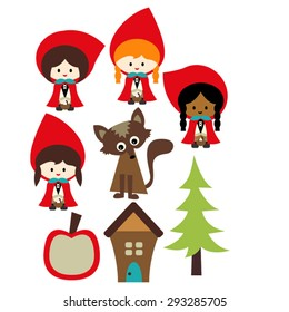 Little red riding hood. Cute vector.