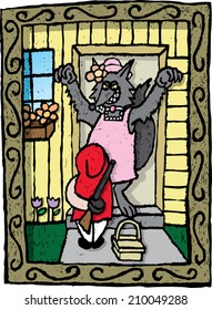 Little Red Riding Hood. A depiction of Little Red Riding Hood having a surprise of her own for the wolf.
