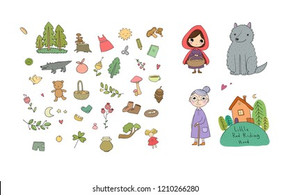 Little Red Riding Hood fairy tale. cute girl and wolf, grandmother and house. Vector illustration.
