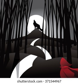 Little Red Riding Hood fairy tale depiction with howling wolf and frightened riding hood. EPS 10 vector illustration.