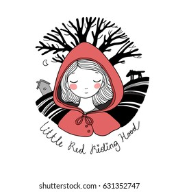 Little Red Riding Hood fairy tale. Little cute girl. Hand drawing isolated objects on white background. Vector illustration.