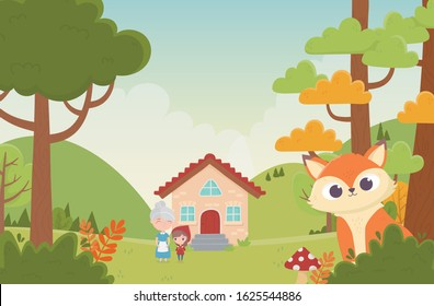 little red riding hood grandma next house and wolf in the forest fairy tale cartoon vector illustration