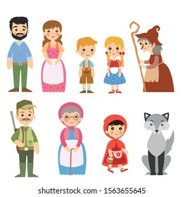 Little Red Riding Hood and Hansel and Gretel story characters set.Fairy tales vector illustrations isolated on white background.