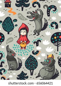 Little Red Riding Hood seamless pattern. Vector illustration