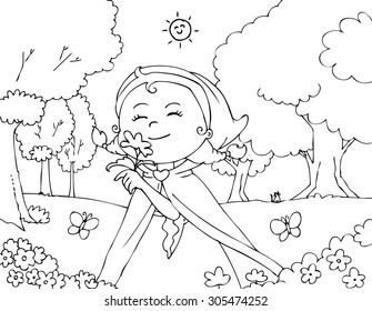 Little Red Riding Hood smelling flowers. Coloring vector illustration.