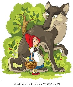 Little Red Riding Hood and Wolf in the forest. Also available coloring book version