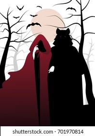 Little red riding hood and wolf in the woods. Vector Illustration