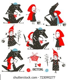 Little Red Riding Hood and Wolf Fairytale Collection. Big set of black wolf and little red riding hood tale characters. Vector illustration.