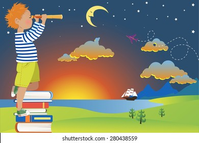 Little redhead boy in a sailor's shirt standing on a pile of books, looking in a telescope at a fairy-tale landscape, vector illustration, no transparencies, EPS 8