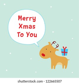 little reindeer merry christmas greeting card