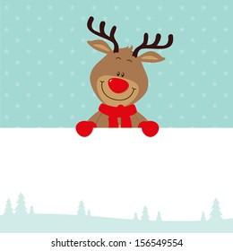 Little reindeer with signboard