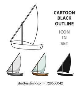 Little river sailing for fun.The boat which sails through the wind.Ship and water transport single icon in cartoon style vector symbol stock illustration.
