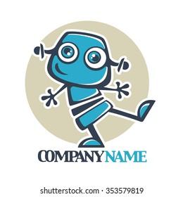 little robot, vector cartoon illustration for your logo