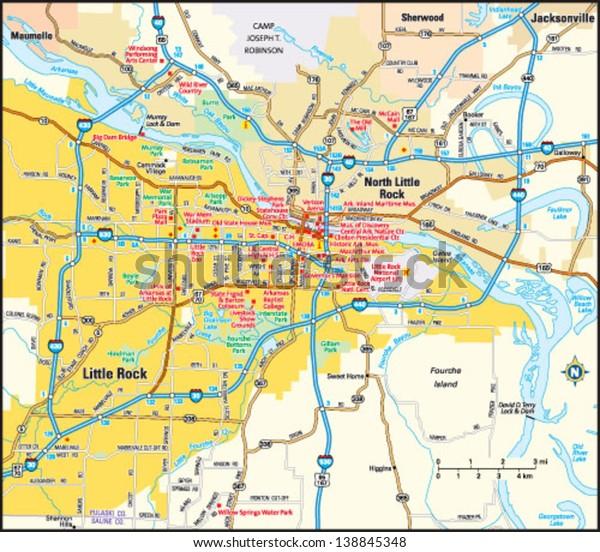 Little Rock Arkansas Area Map   Transportation, Education ...
