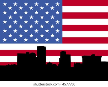 little Rock Arkansas skyline with American flag illustration