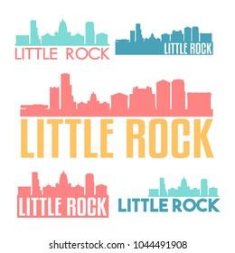 Little Rock Arkansas USA Flat Icon Skyline Vector Silhouette Design Set