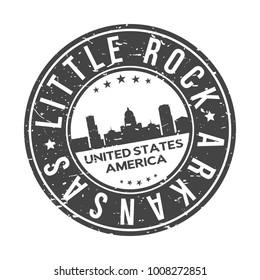 Little Rock City Arkansas USA Stamp Logo Icon Symbol Design Skyline City