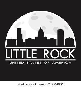 Little Rock Full Moon Night Skyline Silhouette Design City Vector Art