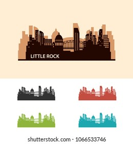 Little Rock Skyline City Logo Vector