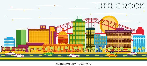 Little Rock Skyline with Color Buildings and Blue Sky. Vector Illustration. Business Travel and Tourism Concept. Image for Presentation Banner Placard and Web Site.